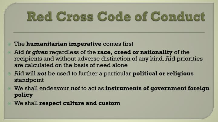 Red Cross Code of Conduct