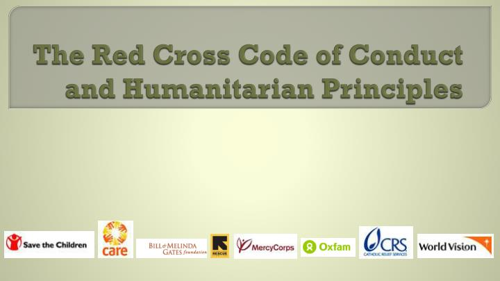 The red cross code of conduct and humanitarian principles