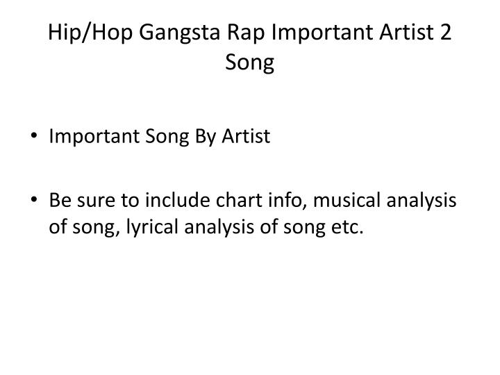 Hip/Hop Gangsta Rap Important