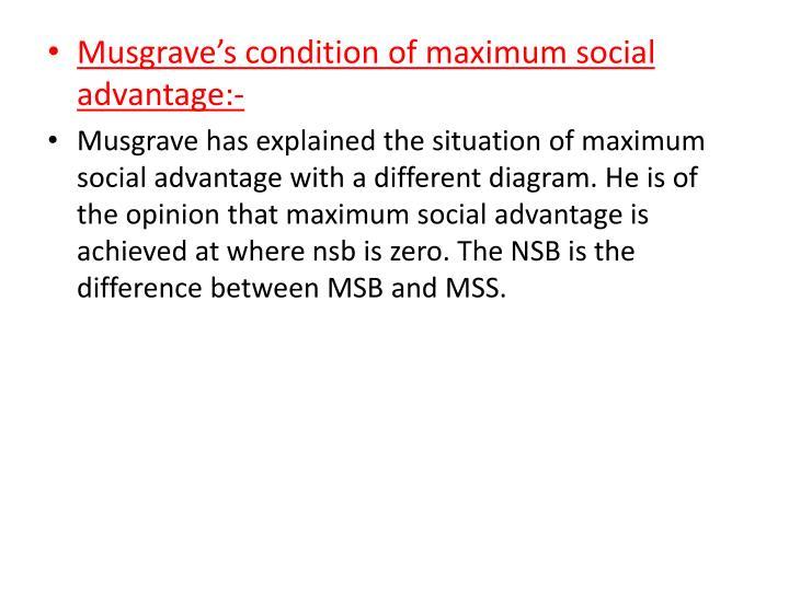 Musgrave's condition of maximum social advantage:-