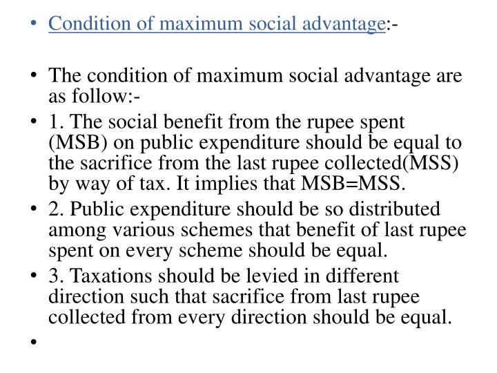 Condition of maximum social advantage