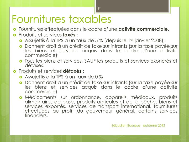 Fournitures taxables