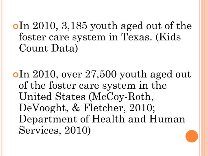 In 2010, 3,185 youth aged out of the foster care system in Texas. (Kids Count Data)