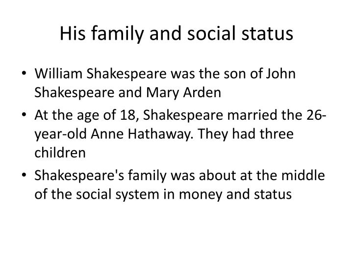 His family and social status