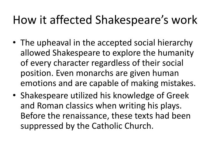 How it affected Shakespeare's work