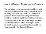 how it affected shakespeare s work