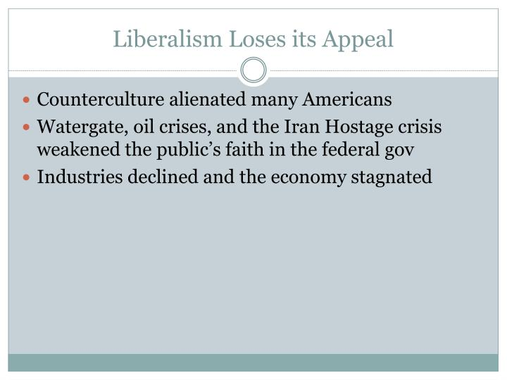 Liberalism Loses its Appeal