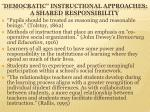 democratic instructional approaches a shared responsibility