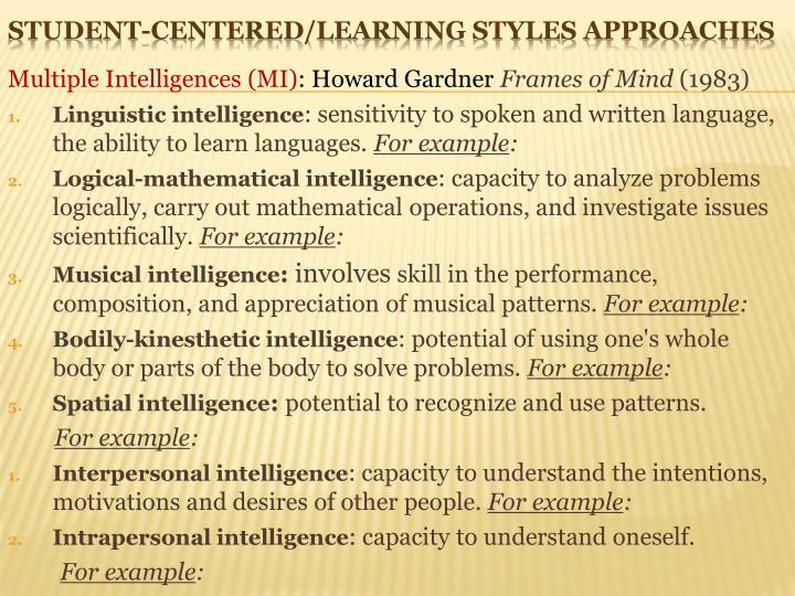 Multiple Intelligences (MI)
