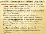 student centered learning styles approaches