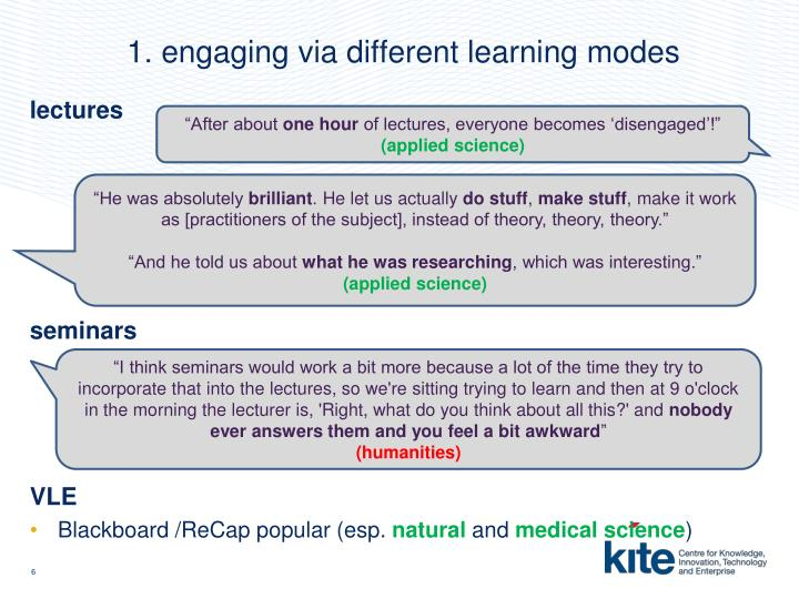 1. engaging via different learning modes