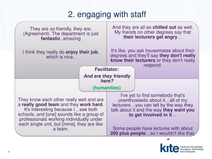 2. engaging with staff
