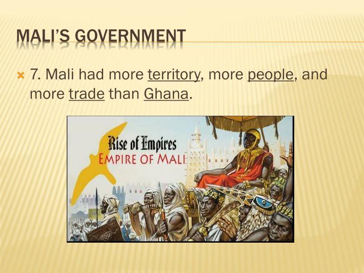 7. Mali had more