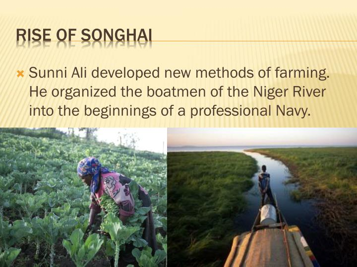 Sunni Ali developed new methods of farming. He organized the boatmen of the Niger River into the beginnings of a professional Navy.