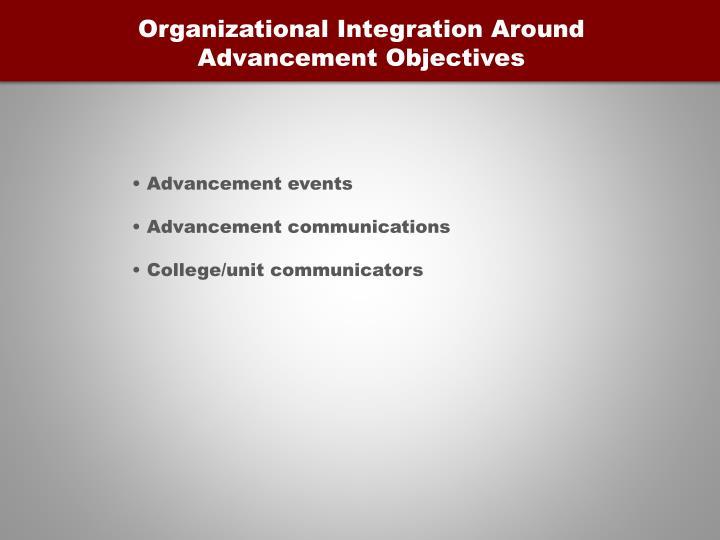 Organizational Integration Around Advancement Objectives