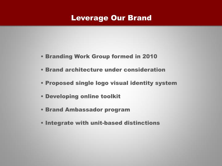 Leverage Our Brand