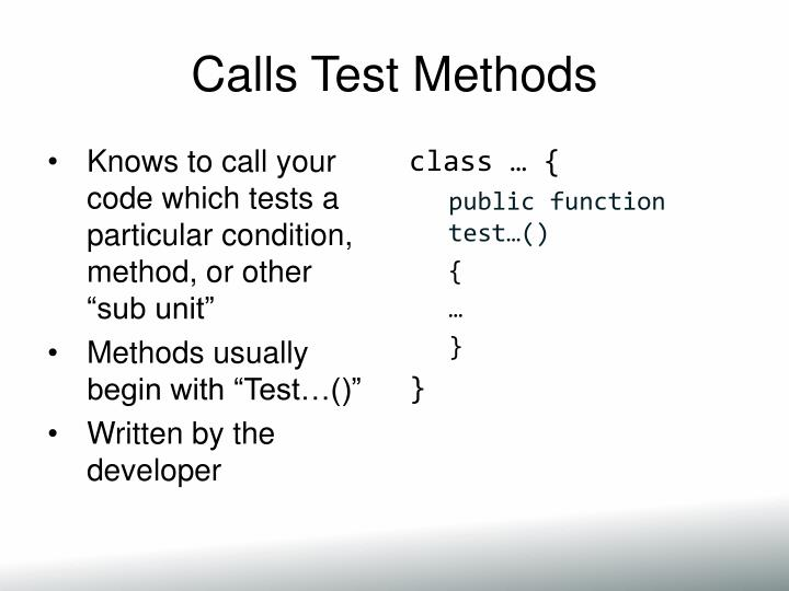 Calls Test Methods