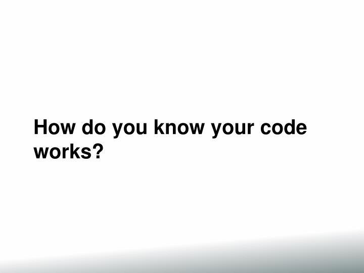 How do you know your code works?