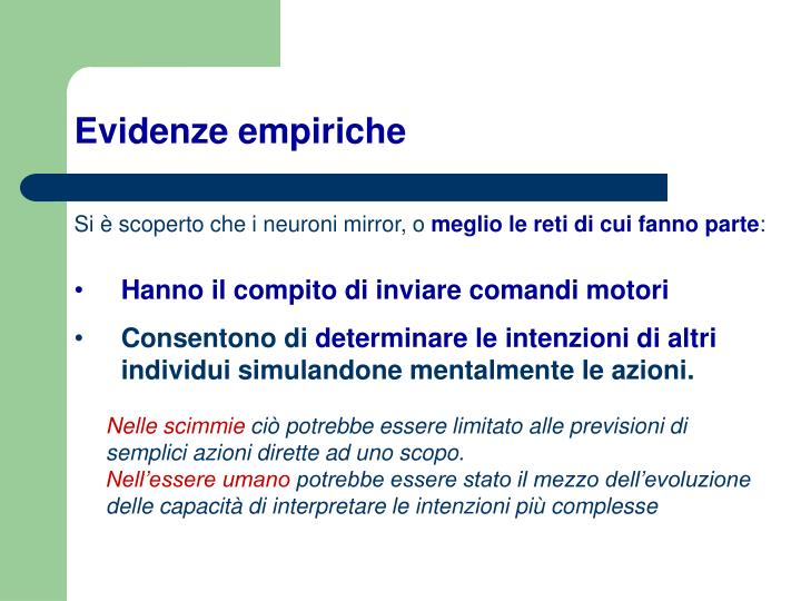 Evidenze empiriche