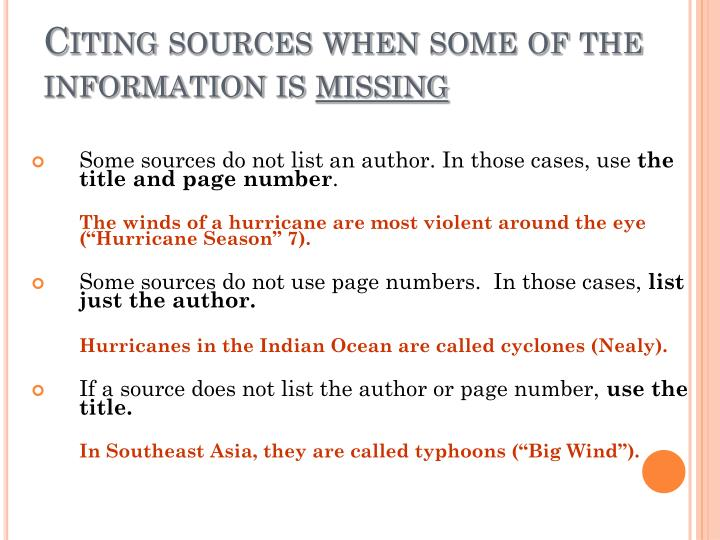 Citing sources when some of the information is
