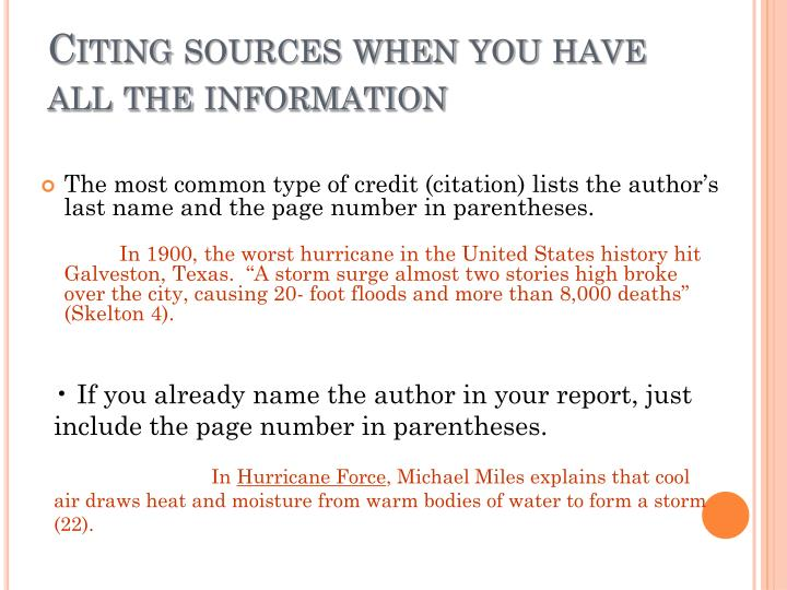 Citing sources when you have all the information