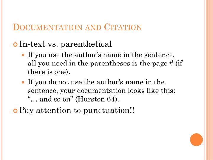Documentation and Citation