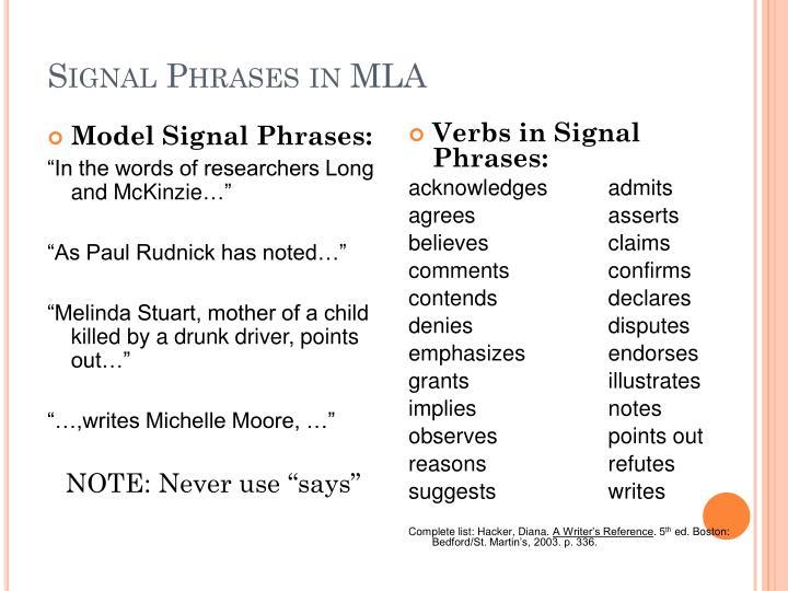 Model Signal Phrases: