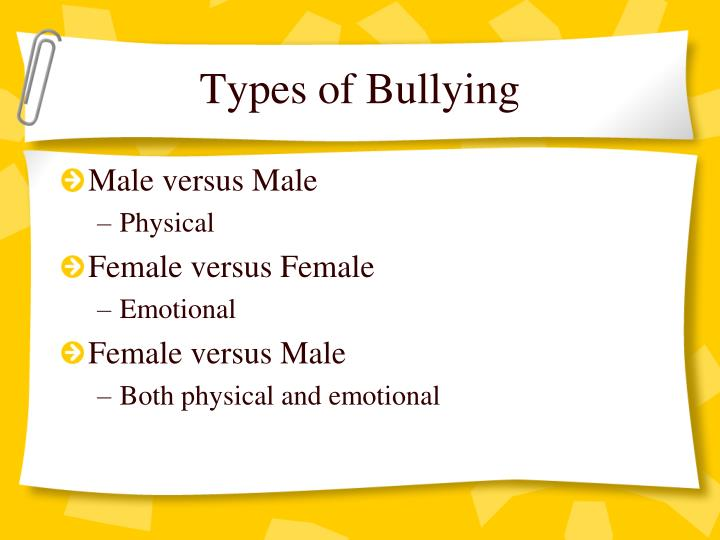 the causes and types of bullying Why do people bully there are many types of bullying, this article helps define what bullying is, the causes of bullying, reports and statistics on bullying.