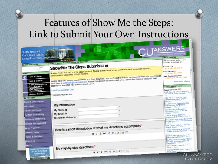 Features of Show Me the Steps: