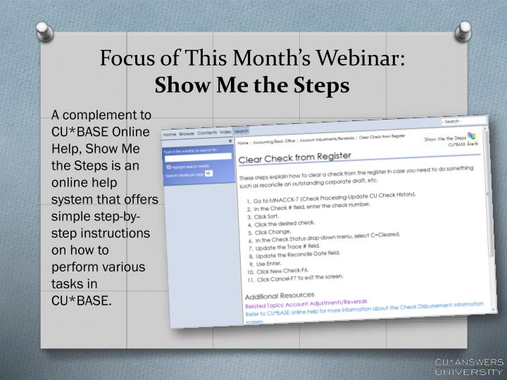 Focus of This Month's Webinar: