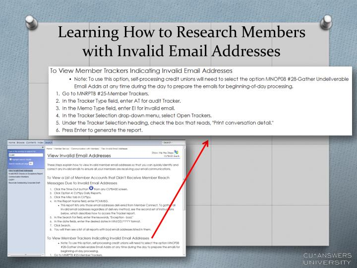 Learning How to Research Members with Invalid Email Addresses
