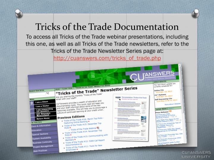 Tricks of the Trade Documentation