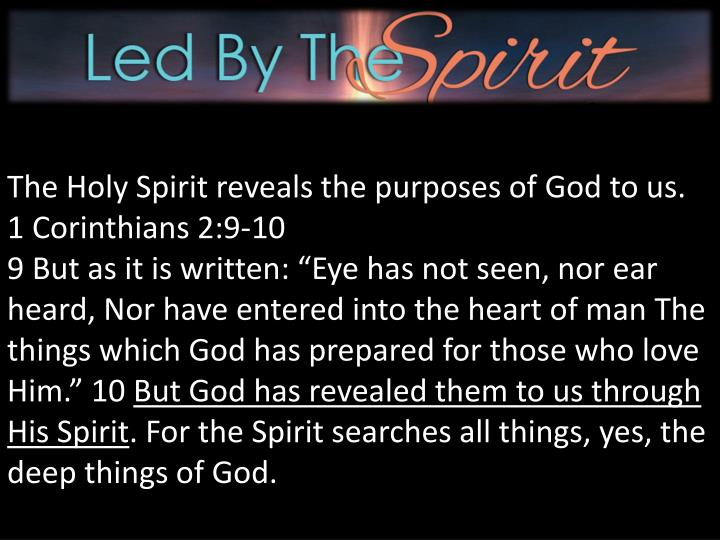 The Holy Spirit reveals the purposes of God to us