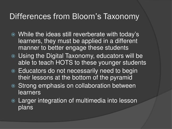 Differences from Bloom's Taxonomy