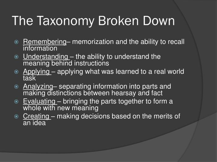The Taxonomy Broken Down