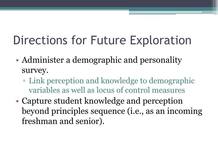 Directions for Future Exploration