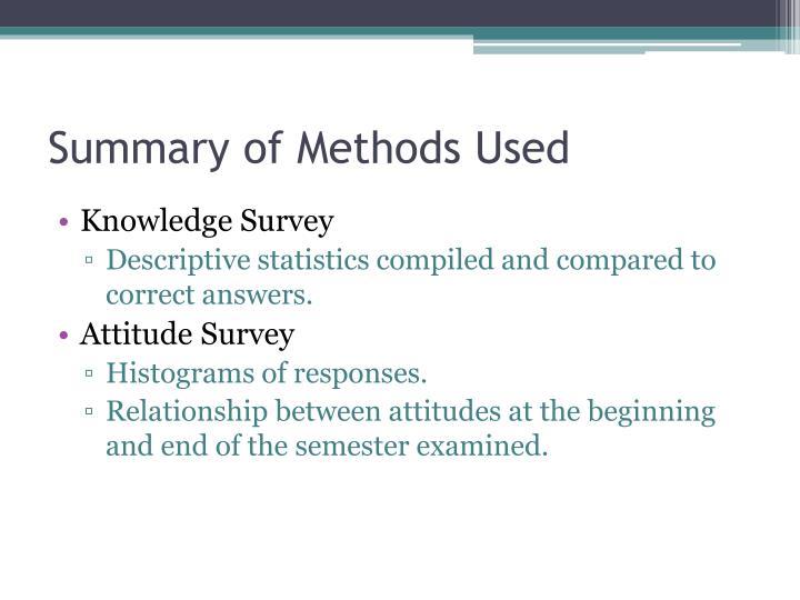 Summary of Methods Used