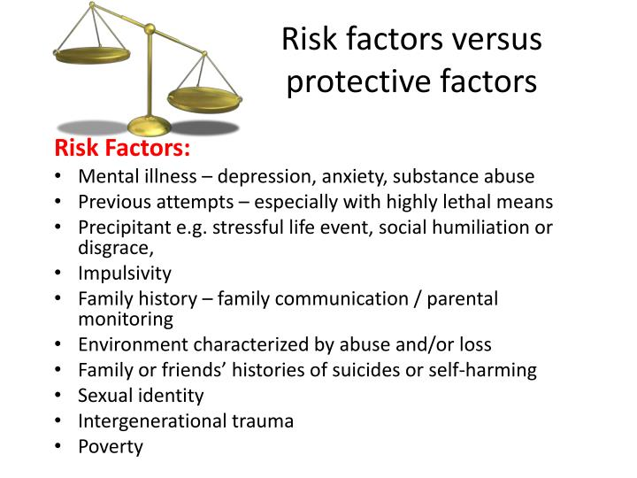 Risk factors versus protective factors