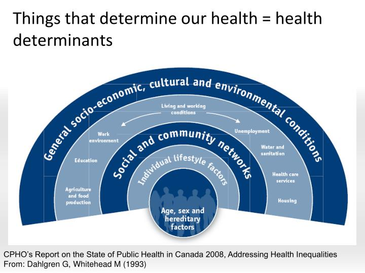 Things that determine our health = health determinants