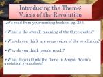introducing the theme voices of the revolution