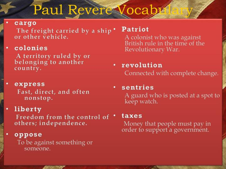 Paul Revere Vocabulary