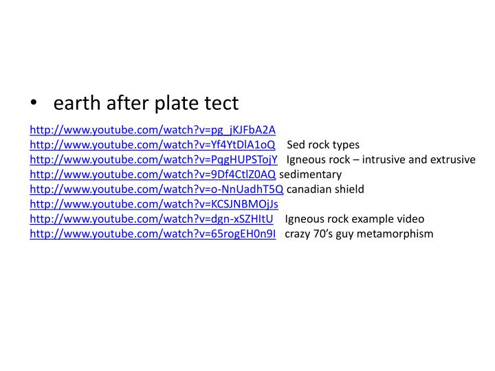 earth after plate tect