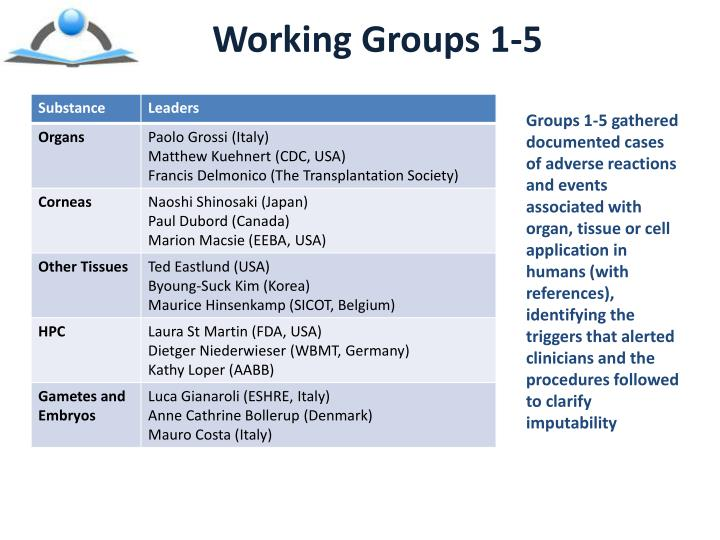 Working Groups 1-5