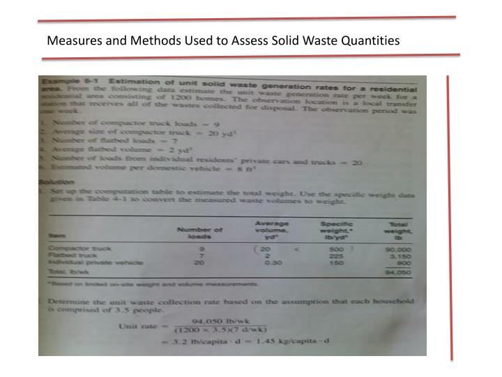 Measures and Methods Used to Assess Solid Waste Quantities