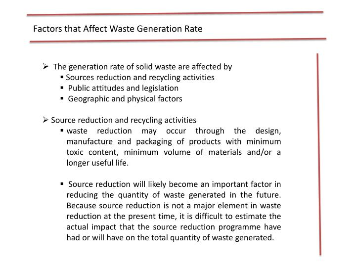 Factors that Affect Waste Generation Rate