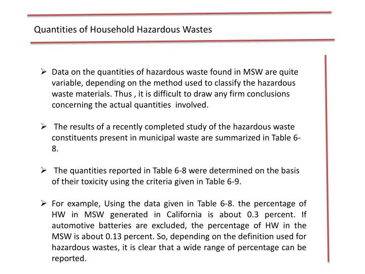 Quantities of Household Hazardous Wastes