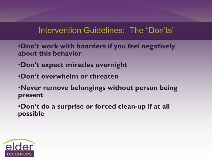 "Intervention Guidelines:  The ""Don'ts"""