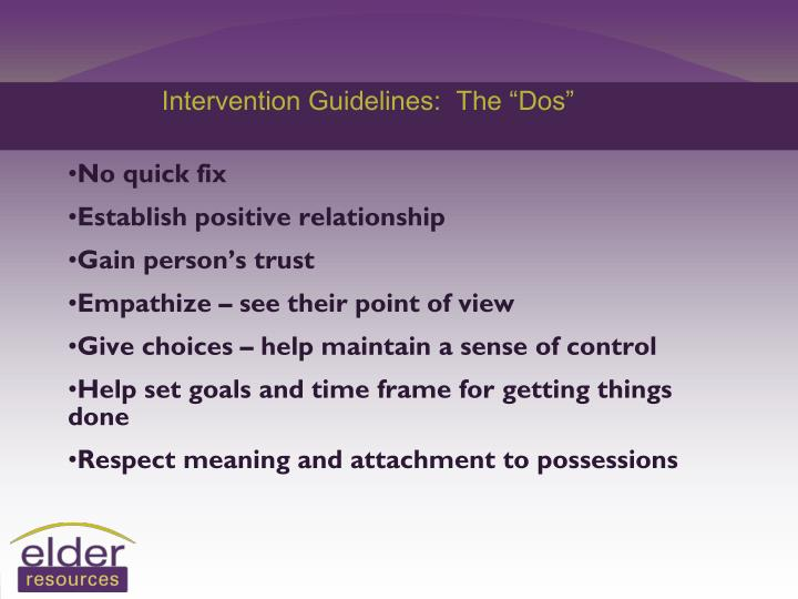 "Intervention Guidelines:  The ""Dos"""