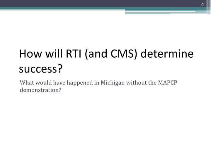 How will RTI (and CMS) determine success?