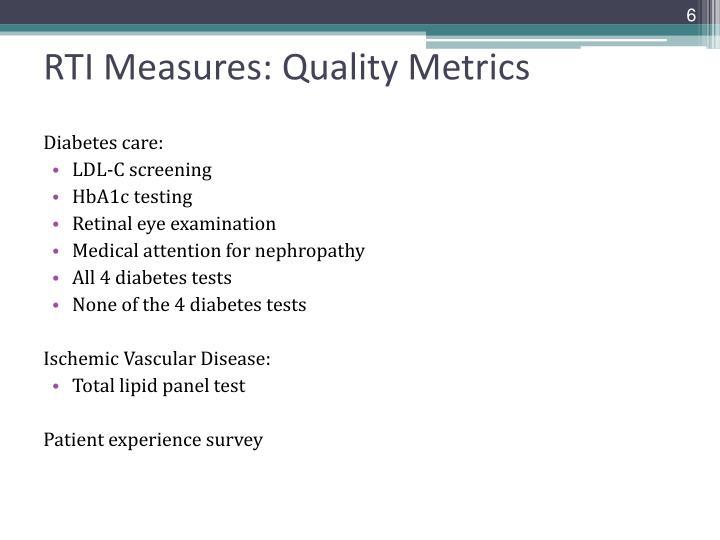 RTI Measures: Quality Metrics